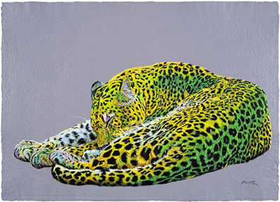 Leopard in yellow and green